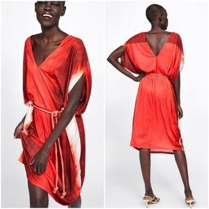 Zara belted tie-dye robe dress tyenaranja
